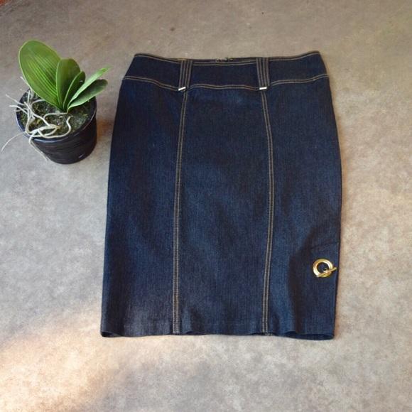 Bisou Bisou Dresses & Skirts - Black Denim Skirt with gold Accents